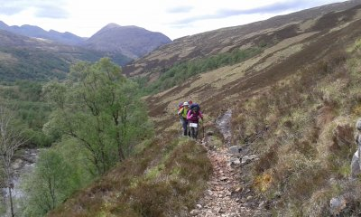 Climbing up the River Leven with the Pap of Glencoe in the background