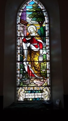 Stained glass window in Kingairloch Church