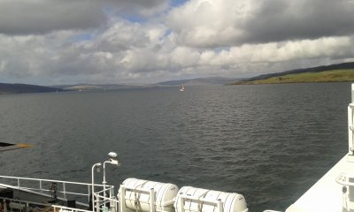 Crossing over to Lochaline from Fishnish, with Oban in the distance